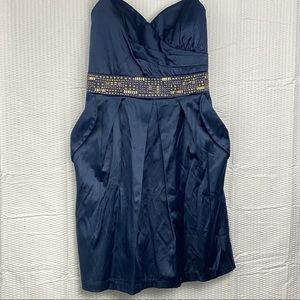 City triangle dress strapless formal navy satin